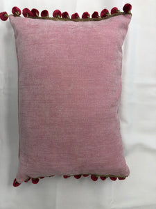 Pink with Gold Tassels Pillow