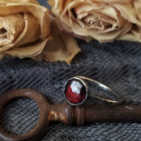 Garnet & Oxidized Sterling Silver Ring - Made to Order
