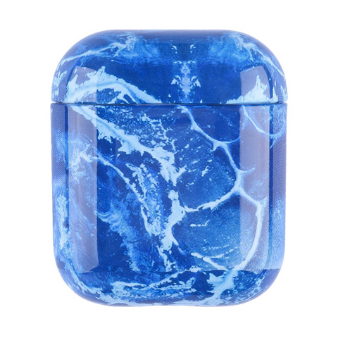 Airpod Case - Blue white patched marble airpod case 1O