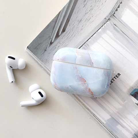 Airpods Pro Case - White and blue marble design airpods case2O Media 1 of 4