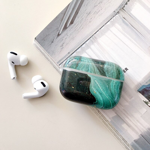 Airpods Pro Case - Green landscape marble design airpods case2T Media 1 of 4