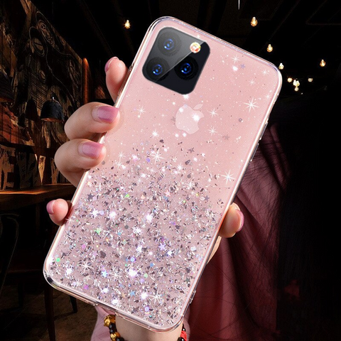 Glitter iPhone 6S Plus case - Rose Pink galaxy stardust iPhone 6S Plus case Media 1 of 3