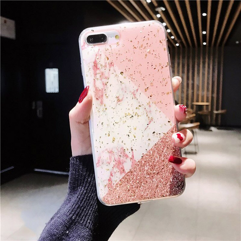 iPhone 6S Plus case - Glitter flaked geometric marble pink brown iPhone 6S Plus case Media 1 of 4