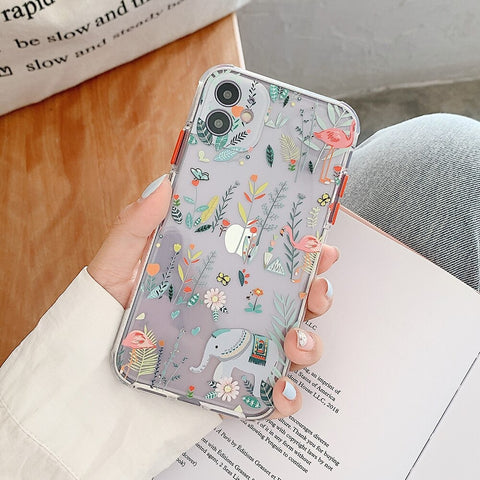 Elephant wildflower Clear iPhone 12 pro max case - cute clear flower case