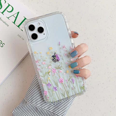 iPhone 12 pro max case - Clear minimalistic floral pattern design case