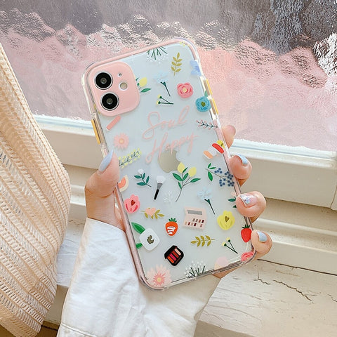 Multicolor Clear iPhone 12 pro max case - Candy cute clear flower case