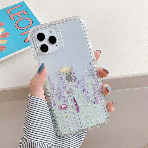 Copy of iPhone 12 pro max case - Cute pinky lavender floral pattern design case