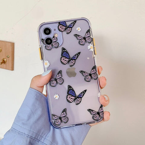 Purple butterfly Clear iPhone 12 pro max case - cute clear flower case