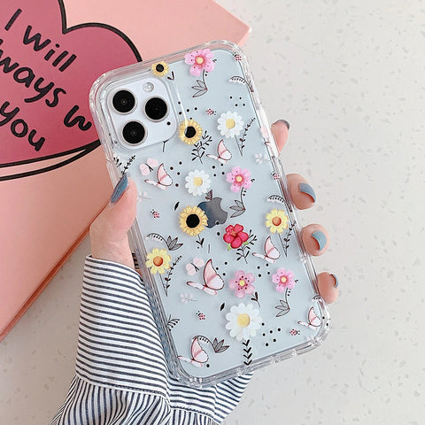 iPhone 12 pro max case - Mixed flower butterfly floral pattern design case