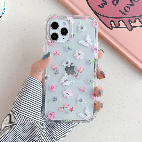iPhone 12 pro max case - Pink flower butterfly floral pattern case