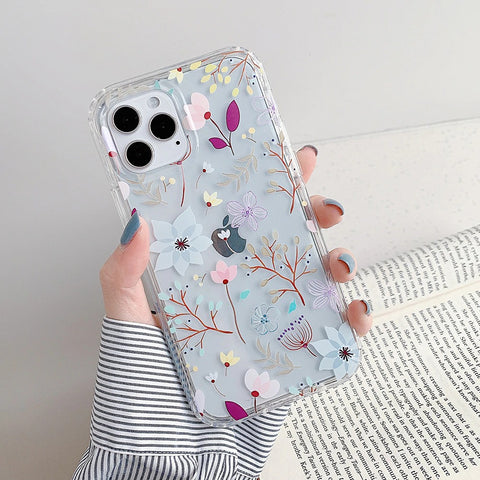 iPhone 12 pro max case - Clear bright flower flower butterfly case