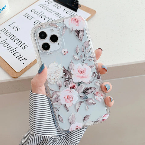 Clear iPhone 12 pro max case - Clear cute rosy flower butterfly case