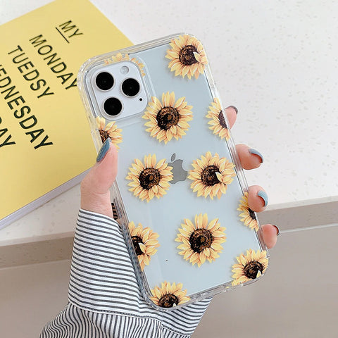 Clear iPhone 12 pro max case - Sunflower leafy cute clear flower case