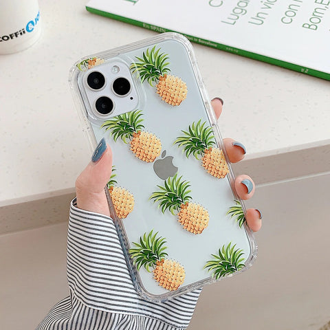 Clear iPhone 12 pro max case - Pineapple fruit leafy cute clear flower case