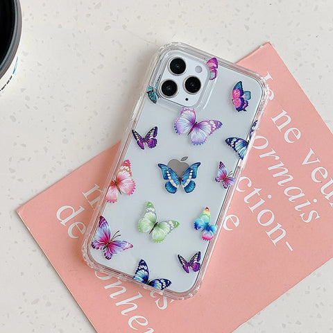 Clear iPhone 12 pro max case - Pink butterfly cute clear flower case