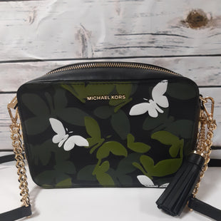 Primary Photo - BRAND: MICHAEL KORS STYLE: HANDBAG DESIGNER COLOR: BLACK SIZE: SMALL OTHER INFO: GREEN BUTTERFLY CROSSBODY SKU: 150-150135-10949X2.5X 6 INCHES