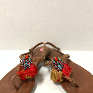 Primary Photo - BRAND: JESSICA SIMPSON STYLE: SANDALS FLAT COLOR: TAN SIZE: 9 OTHER INFO: AS IS RED FRINGE SKU: 150-150131-15000