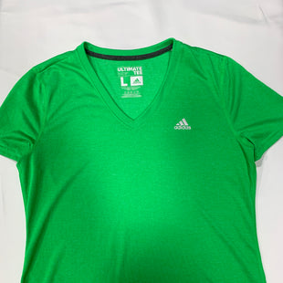 Primary Photo - BRAND: ADIDASSTYLE: ATHLETIC TOP SHORT SLEEVECOLOR: GREENSIZE: LSKU: 150-15098-31404V NECK