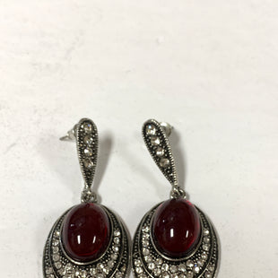 Primary Photo - BRAND:    CLOTHES MENTOR STYLE: EARRINGS COLOR: SILVER SIZE: 2 OTHER INFO: BRIGHTER RED CENTER WITH MULTIPLE CZS AT BOTTOM SKU: 150-150119-10384