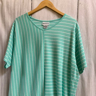 Primary Photo - BRAND: BON WORTH STYLE: TOP SHORT SLEEVE COLOR: MINT SIZE: XL OTHER INFO: WHITE STRIPES SKU: 150-150131-15163