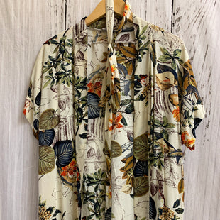 Primary Photo - BRAND:    CLOTHES MENTOR STYLE: SHAWL COLOR: IVORY SIZE: S OTHER INFO: ANGASHION - LEAF/FLORAL PRINT FALL COLORS SKU: 150-150131-14053TIES AT WAIST