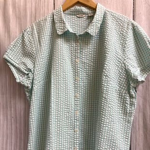 Primary Photo - BRAND: LL BEAN STYLE: TOP SHORT SLEEVE COLOR: CHECKED SIZE: XL OTHER INFO: MINT AND WHITE SKU: 150-15047-146840