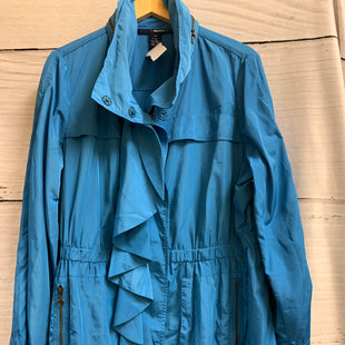 Primary Photo - BRAND: DENIM 24/7 STYLE: COAT SHORT COLOR: BLUE SIZE: 2X OTHER INFO: RAIN COAT SKU: 150-15047-141992BUTTONS AND ZIPPERSENCLOSED HOOD