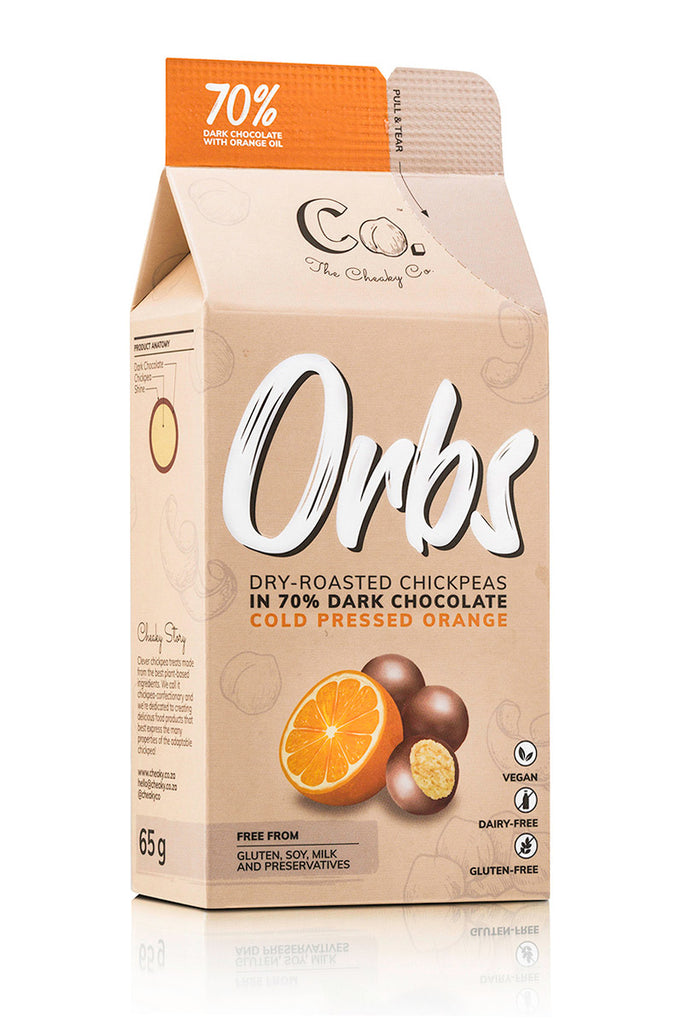 Orbs Dry Roasted Chickpeas in Dark Chocolate with Orange
