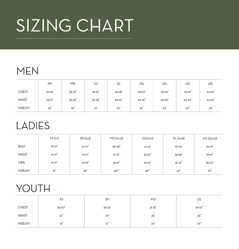 GameGuard Size Chart Youth Men Ladies