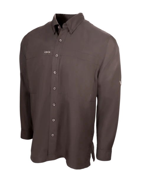 Men's GameGuard Chocolate Long Sleeve Microfiber Shirt | Shirt | GameGuard - Oasis Outback