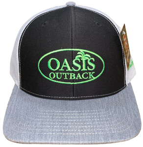 Oasis Outback Black and Gray Embroidered Trucker Cap | Cap | Oasis Outback - Oasis Outback