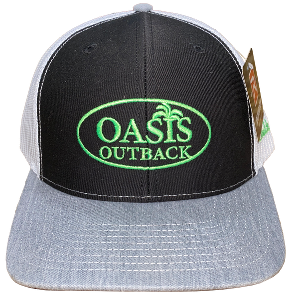 Oasis Outback Black and Gray Embroidered Trucker Cap