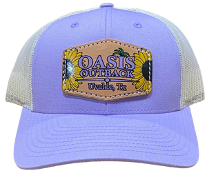 Oasis Outback Lilac Purple Leather Sunflower Patched Trucker Cap | Cap | Oasis Outback - Oasis Outback