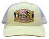 Oasis Outback Banana Yellow Leather Sunflower Patched Trucker Cap | Cap | Oasis Outback - Oasis Outback