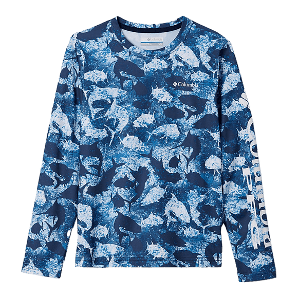 Columbia Kids' Collegiate Navy Inside Out Camo PFG Super Terminal Tackle Long Sleeve Shirt