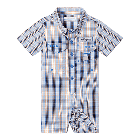 Columbia Vivid Blue Gingham Infant Bonehead Romper | Romper | Columbia - Oasis Outback