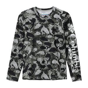 Columbia Kids' Collegiate Cool Grey Inside Out Camo PFG Super Terminal Tackle Long Sleeve Shirt | Shirt | Columbia - Oasis Outback