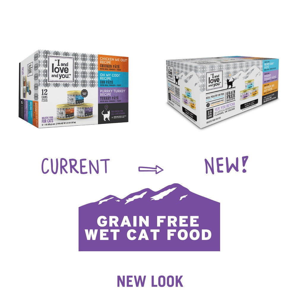 I and Love and You Grain Free Oh My Cod!, Purrkey Turkey, Chicken Me Out Multi-Pack Canned Cat Food