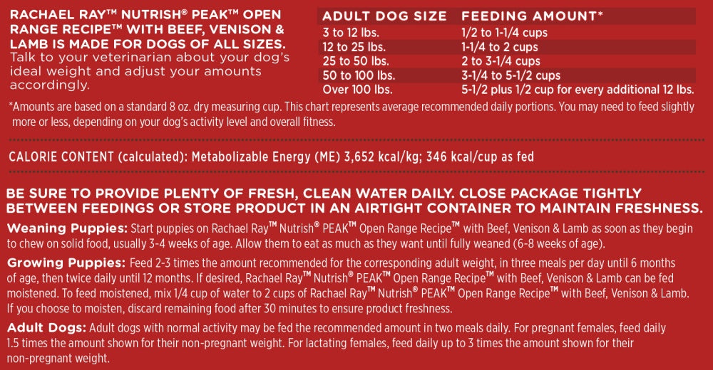 Rachael Ray Nutrish Peak Open Range Grain Free Beef, Venison, & Lamb Recipe Dry Dog Food