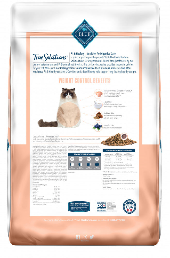 Blue Buffalo True Solutions Fit & Healthy Natural Weight Control Chicken Recipe Adult Dry Cat Food