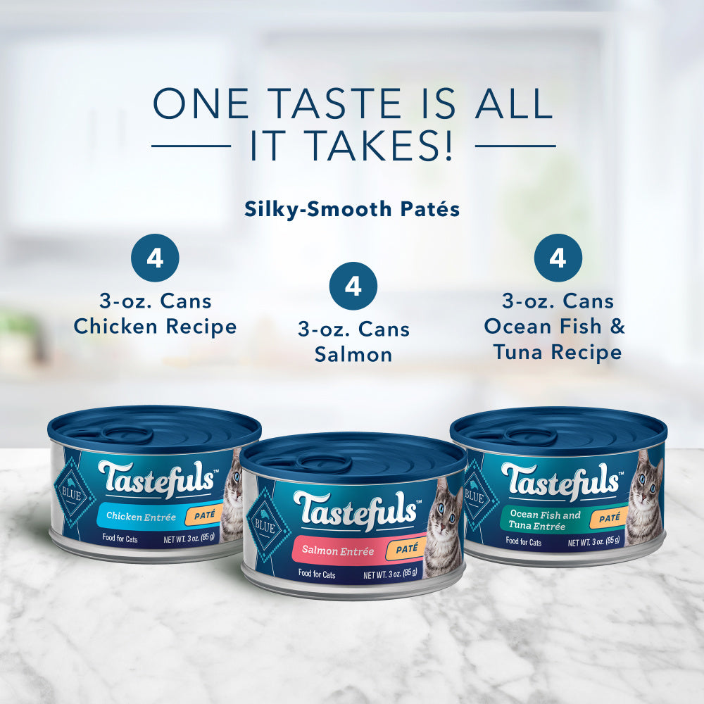 Blue Buffalo Tastefuls Natural Pate Variety Pack Salmon, Chicken, Ocean Fish & Tuna Entrees Wet Cat Food