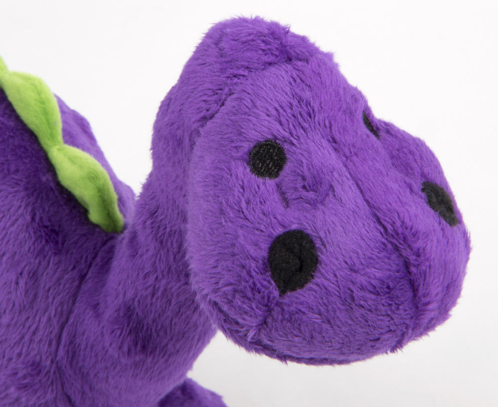 Go Dog Dinos Bruto with Chew Guard Technology Durable Plush Squeaker Dog Toy Purple