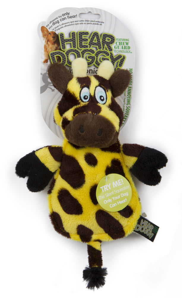 Go Dog Hear Doggy Flattie Giraffe With Chew Guard Technology And Silent Squeak Technology Plush Dog Toy