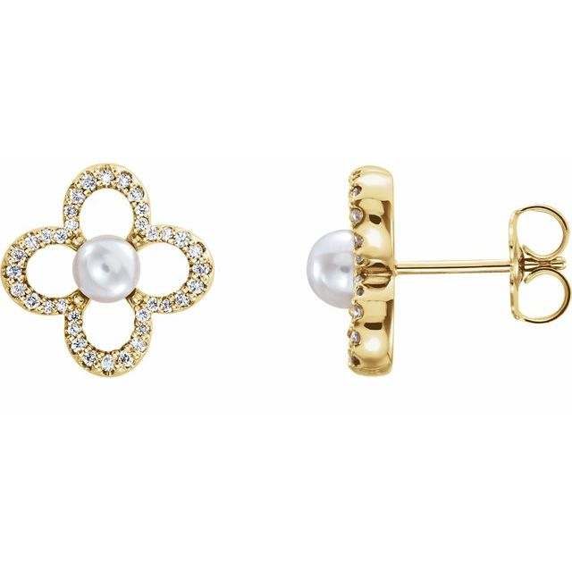 Clover diamond and pearl earrings