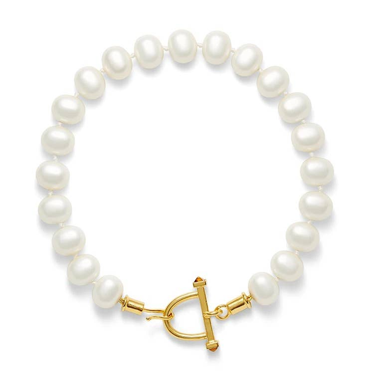 Pearl Necklace with Stirrup Clasp