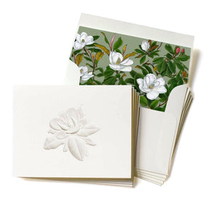 Deep Embossed Southern Magnolia Stationary, Set of 5