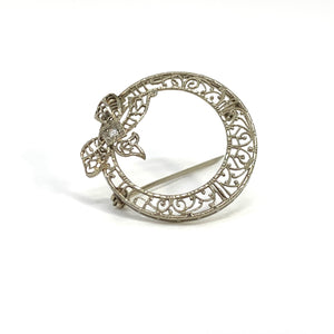 White Gold Round Filigree Pin with Bow