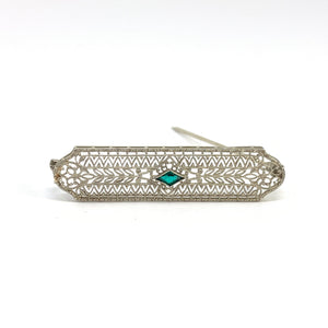 White Gold Filigree Pin with Green