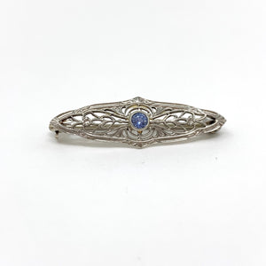 White Gold with Sapphire Pin