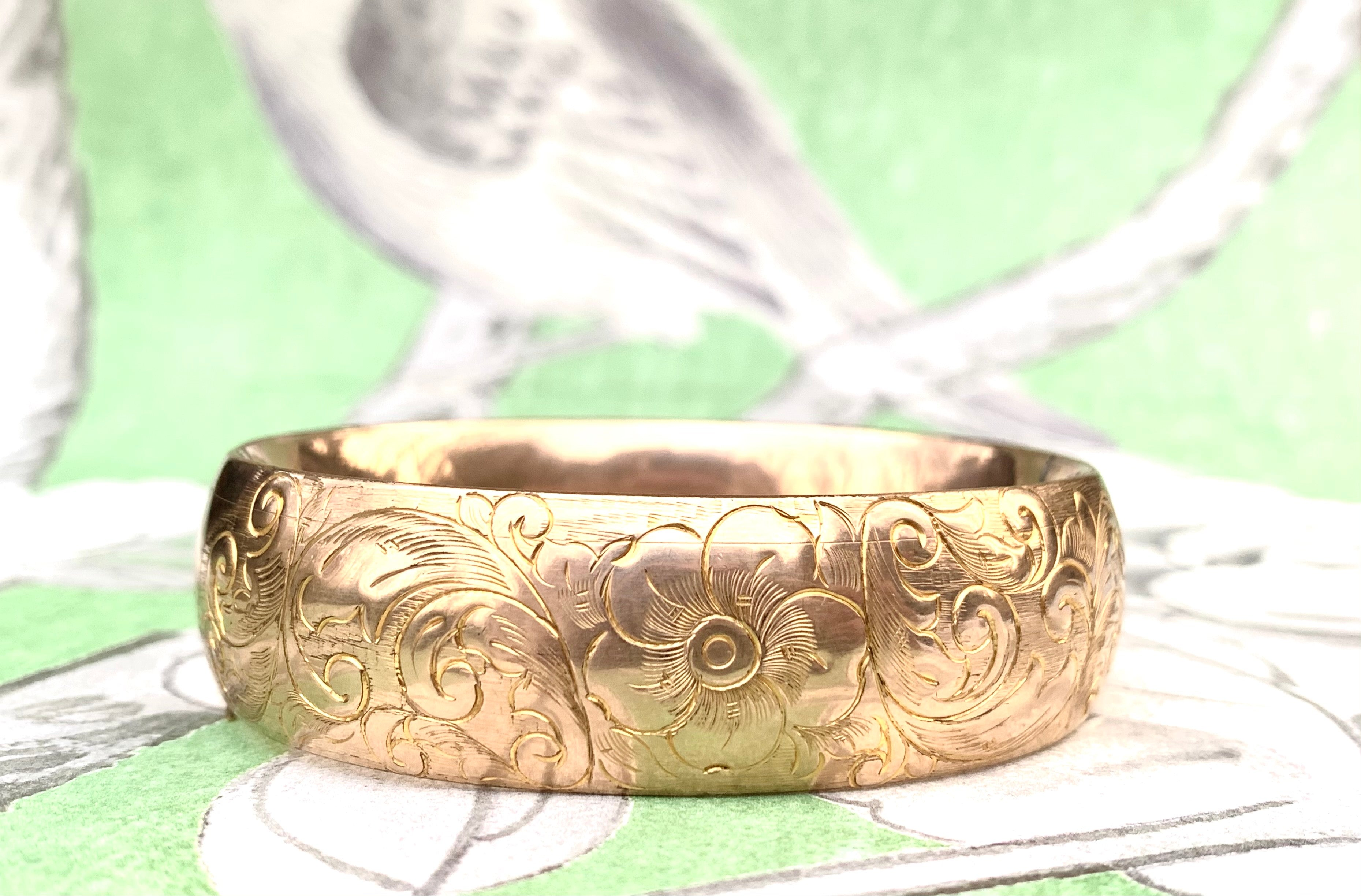 Wide gold filled bangle